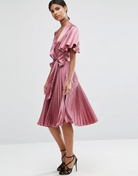 Asos Pleated Wrap Midi Dress In Satin Lilac Purple