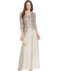 Alex Evenings Sequin Lace Satin Gown And Jacket Champagne