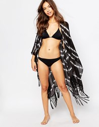 Pull And Bear Pullandbear Long Kimono Tie Dye Black