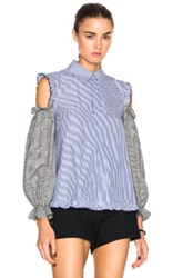 Sandy Liang Delano Top In Blue Stripes Checkered And Plaid Blue Stripes Checkered And Plaid
