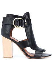 Derek Lam 10 Crosby Buckled Block Heel Sandals Black