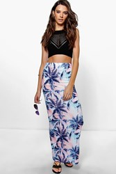 Boohoo Pastel Palm Maxi Skirt Multi