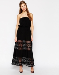 Jarlo Bandeau Maxi Dress With Sheer Lace Skirt Black