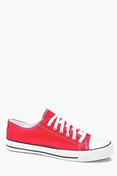 Boohoo Canvas Plimsolls Red