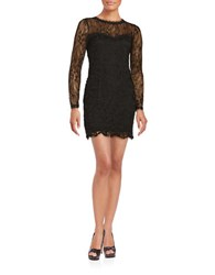 Design Lab Lord And Taylor Long Sleeve Lace Sheath Dress Black