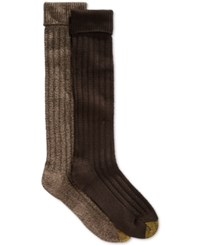 Gold Toe Women's Touch Stitch Knee High Socks 2 Pack Brown Marl