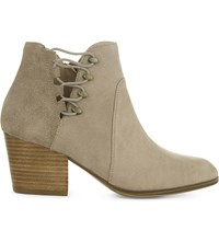 Aldo Montasico Leather And Suede Ankle Boots Beige