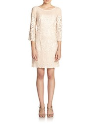 Dawn Levy Embroidered Lace A Line Dress Vintage Blush