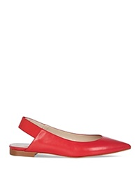 Karen Millen Pointed Flats Leather Slingback Red
