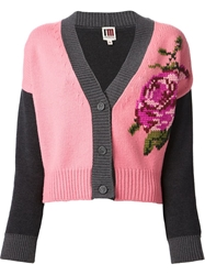 Isola Marras Rose Knit Cardigan Pink And Purple