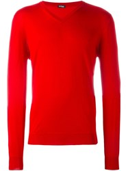 Kiton V Neck Sweater Red