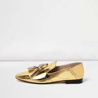 River Island Womens Gold Patent Tassel Loafers