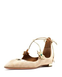 Aquazzura X Poppy Delevingne Midnight Star Suede Ballerina Flat Light Gold