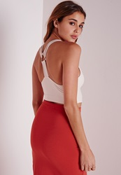 Missguided Triangle Ring Bandage Crop Top Nude