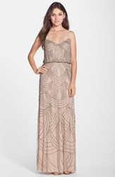 Women's Adrianna Papell Beaded Chiffon Blouson Dress Taupe Pink