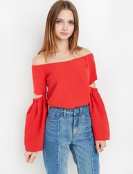 Pixie Market Red Off The Shoulder Bell Sleeve Top