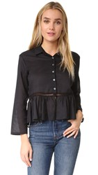 Matin Gathered Top With Trim Black