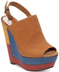 Jessica Simpson Radina Slingback Platform Wedge Sandals Women's Shoes Honey Brown