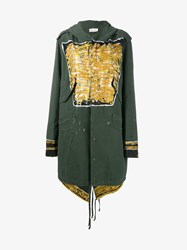Faith Connexion Paint And Glitter Embellished Cotton Parka Green White Gold Black