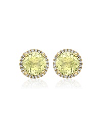 Grace Lemon Quartz Stud Earrings With Diamonds Kiki Mcdonough