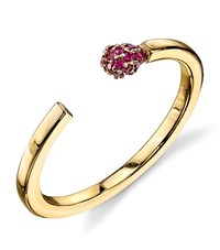 Sydney Evan Matchstick Ruby Ring Female Yellow Gold