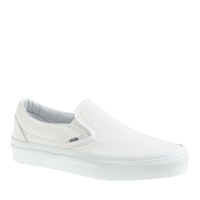 J.Crew Unisex Vans Solid Canvas Classic Slip On Shoes In White