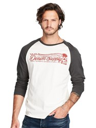 Denim And Supply Ralph Lauren Baseball Long Sleeve T Shirt Antique Cream Black