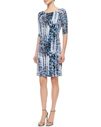 Carmen Marc Valvo 3 4 Sleeve Ikat Print Jersey Dress Size 6 Blue