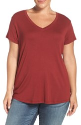 Sejour Plus Size Women's Short Sleeve V Neck Tee Red Syrah
