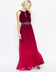 Little Mistress Ombre Maxi Dress With Embellished Waist Cherry Red