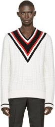 Givenchy White V Neck Knit Sweater