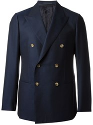 Caruso Double Breasted Blazer Blue