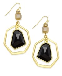 Inc International Concepts Gold Tone Black Stone Orbital Earrings Only At Macy's
