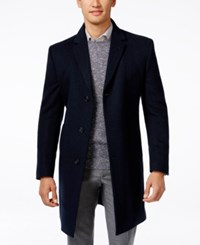 Kenneth Cole Reaction Raburn Wool Blend Over Coat Slim Fit Navy