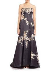 Sue Wong Embroidered Satin Strapless Gown Black