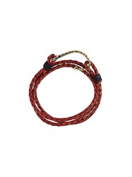 Nialaya Jewelry Braided Wrap Around Bracelet Red