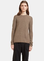 Rick Owens Biker Level Ribbed Knit Sweater Brown