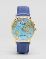 Reclaimed Vintage Blue Map Print Watch Brown