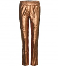 Isabel Marant Becka Metallic Leather Trousers Gray Metallic
