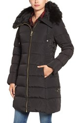 Guess Women's Faux Fur Trim Hooded Lace Up Detail Quilted Coat Black