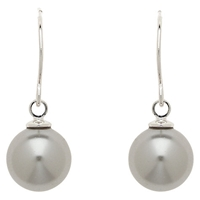Finesse 10Mm Faux Pearl Wire Earrings Grey
