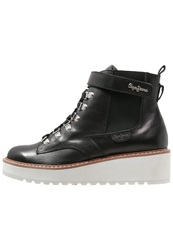Pepe Jeans Adele Velcro Laceup Boots Black