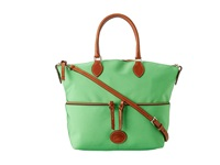 Dooney And Bourke Nylon Large Pocket Satchel Kelly Green With Tan Trim Satchel Handbags