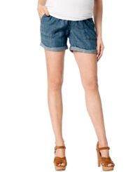 A Pea In The Pod Maternity Roll Cuff Chambray Shorts