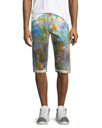 Prps Paint Splattered Slim Fit Shorts White Multi White Multi