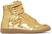Maison Martin Margiela Gold Cracked Future High Top Sneakers