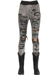 Faith Connexion Bleached And Destroyed Studded Denim Jeans