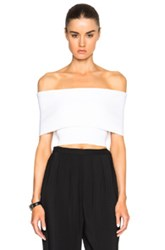Rosetta Getty Cropped Banded Viscose Sweater In White