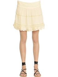 Etoile Isabel Marant Cotton Voile And Crocheted Lace Skirt Beige