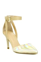 Sigerson Morrison Saber Ankle Strap Leather Pump Metallic